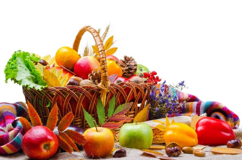 Verdure e frutta in un canestro di vimini, isolato su bianco immagine stock libera da diritti