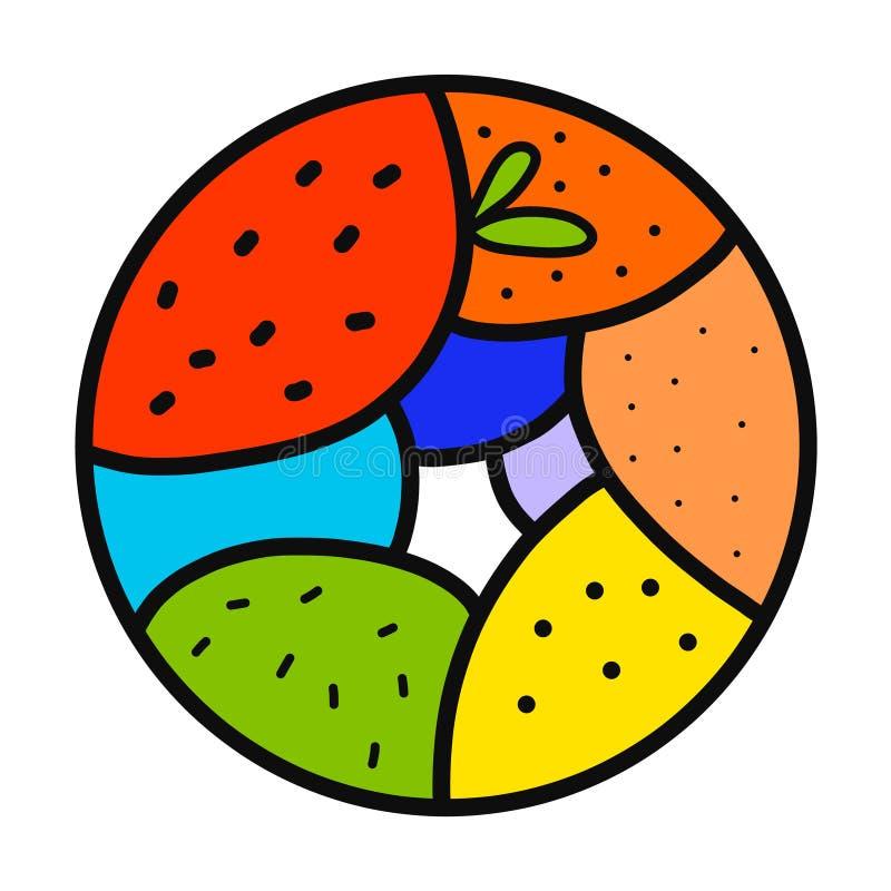 Verdure e logo disegnato a mano del logotype di frutti per le magliette dei manifesti delle stampe che marcano a caldo il ristora illustrazione vettoriale