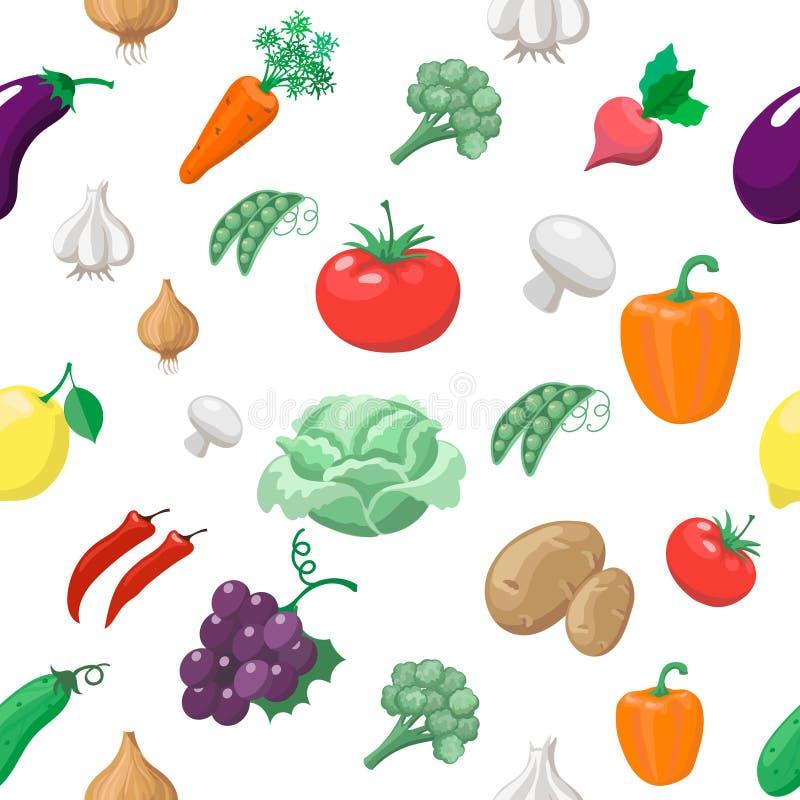 Verdure e modello senza cuciture di frutti ravanelli illustrazione vettoriale