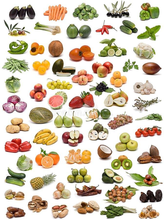 Verdure, frutta e noci. fotografia stock