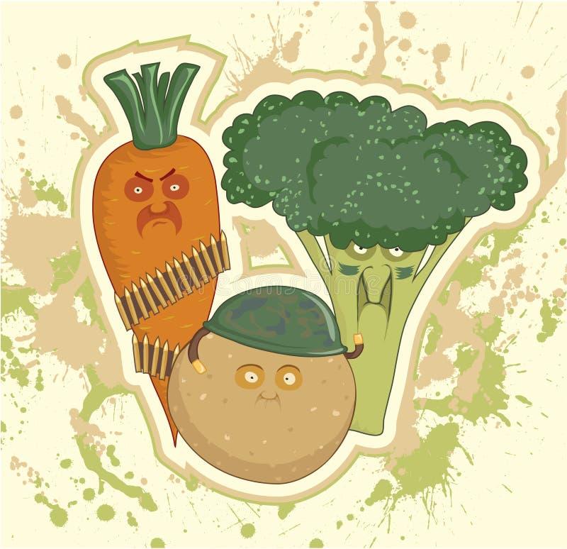 Verdure militari, patate, carote, broccolo illustrazione vettoriale