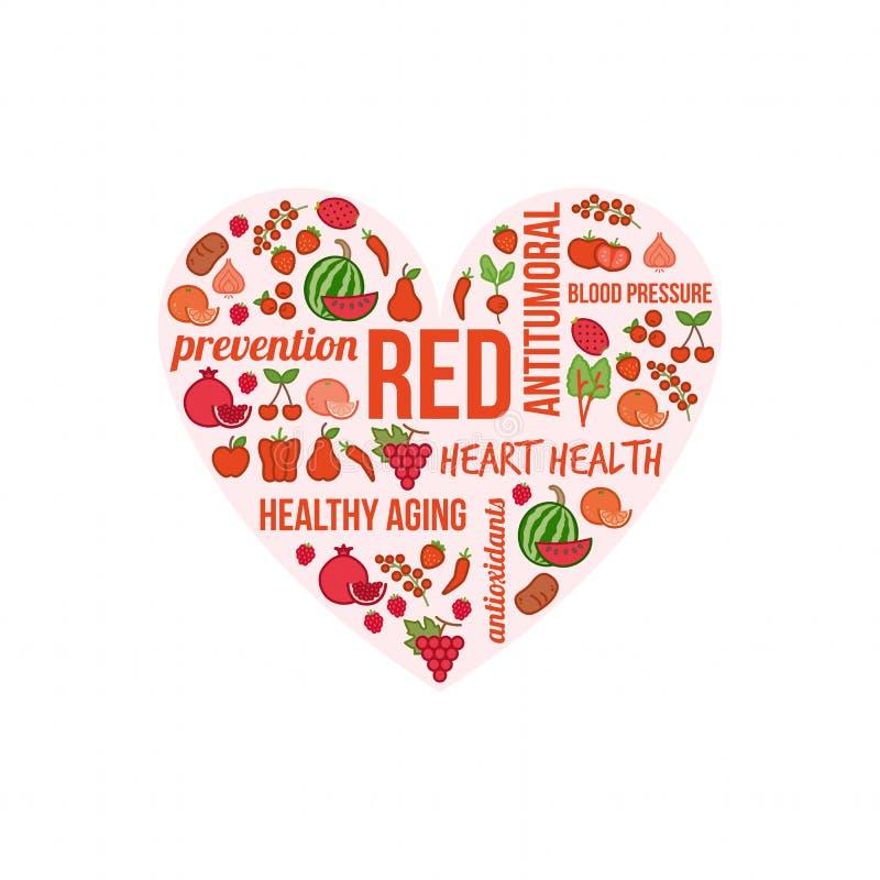 Verdure rosse e frutta royalty illustrazione gratis