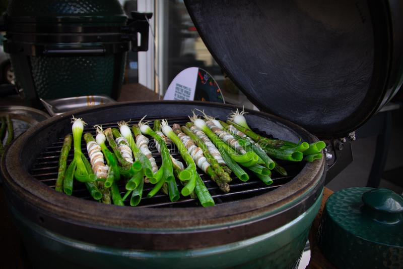 Verdure su un grande uovo verde che cucinano studio fotografie stock libere da diritti
