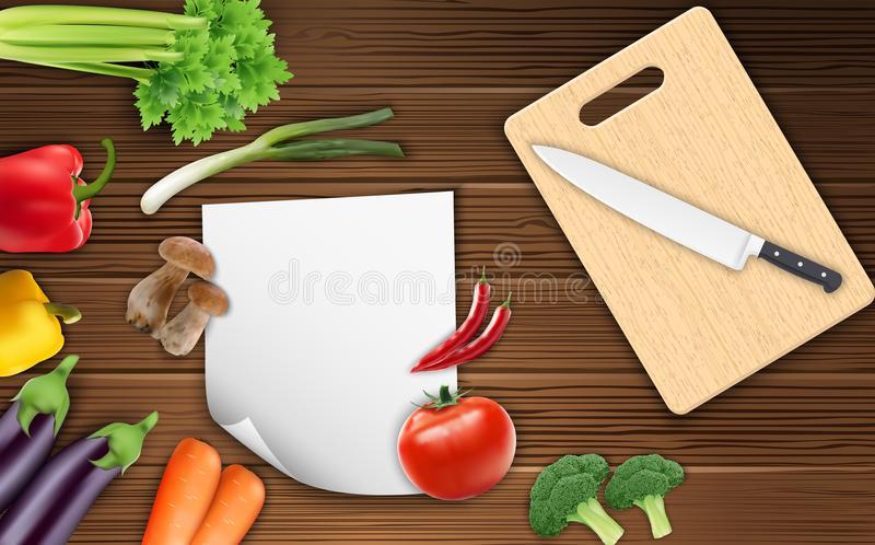 Verdure sulla tavola con carta e un coltello su un tagliere illustrazione di stock