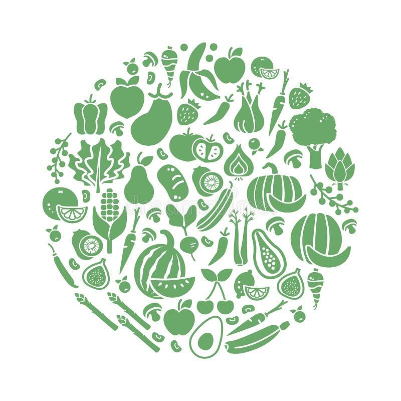 Verdure in una forma circolare illustrazione di stock