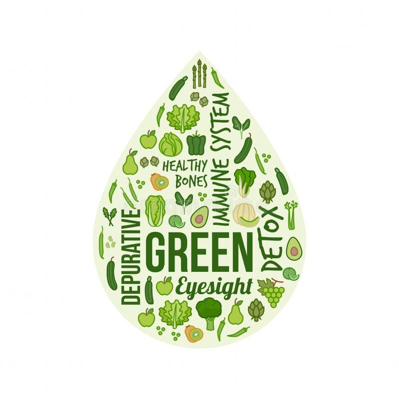 Verdure verdi e frutta illustrazione vettoriale