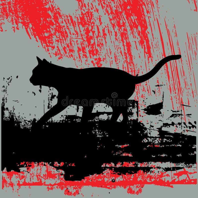 Verdwaalde Kat Grunge vector illustratie