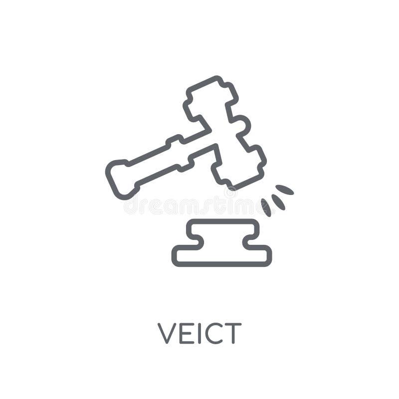 Veredict liniowa ikona Nowożytny konturu Veredict logo pojęcie na wh ilustracja wektor