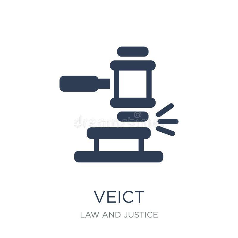 Veredict symbol Moderiktig plan vektorVeredict symbol på den vita backgroen royaltyfri illustrationer