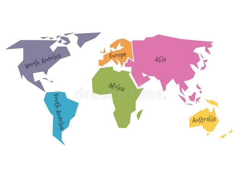 Vereenvoudigde die wereldkaart aan zes continenten in verschillende kleuren wordt verdeeld Eenvoudige vlakke vectorillustratie royalty-vrije illustratie