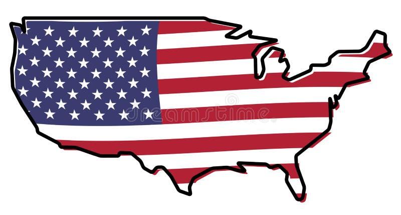 Vereenvoudigde kaart - het overzicht van de Verenigde Staten van Amerika, met lichtjes vector illustratie