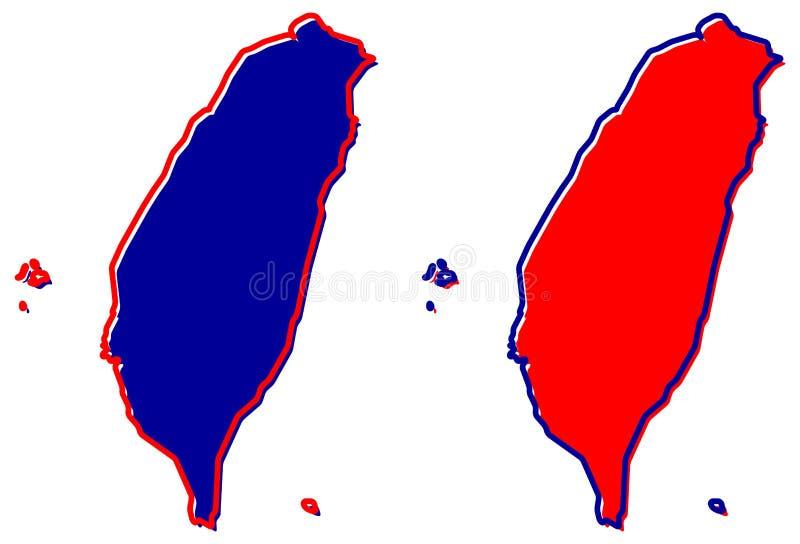 Vereenvoudigde kaart van het Gebied van Taiwan China overzicht Vul en strijk royalty-vrije illustratie