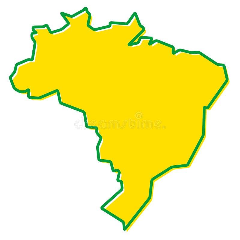 Vereenvoudigde kaart van het overzicht van Brazilië Vul en strijk zijn nationaal c stock illustratie