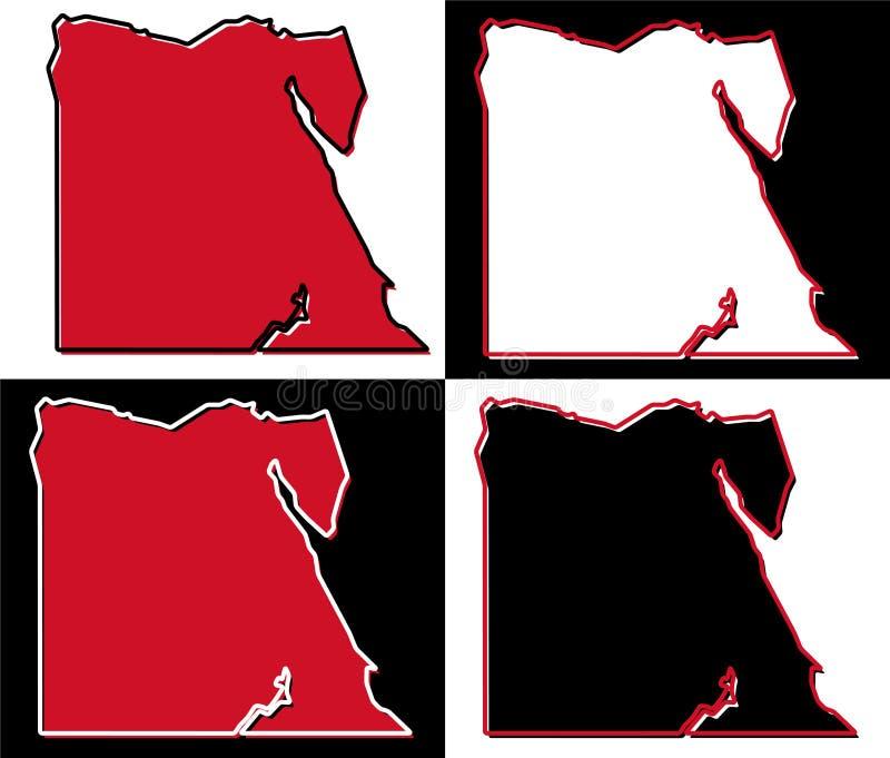 Vereenvoudigde kaart van het overzicht van Egypte Vul en strijk zijn nationale mede royalty-vrije illustratie