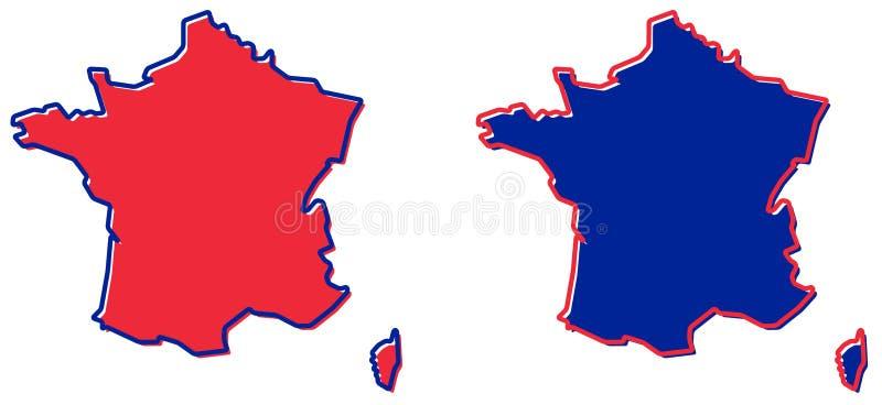 Vereenvoudigde kaart van het overzicht van Frankrijk Vul en strijk zijn nationaal c stock illustratie