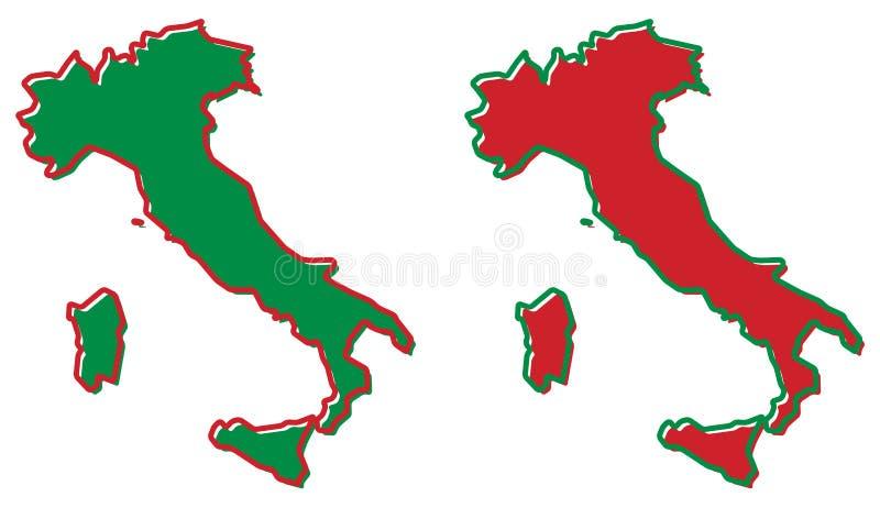 Vereenvoudigde kaart van het overzicht van Italië Vul en strijk zijn nationale mede stock illustratie