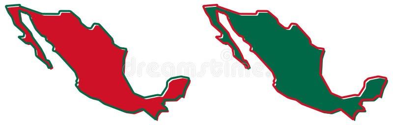 Vereenvoudigde kaart van het overzicht van Mexico Vul en strijk zijn nationaal c stock illustratie