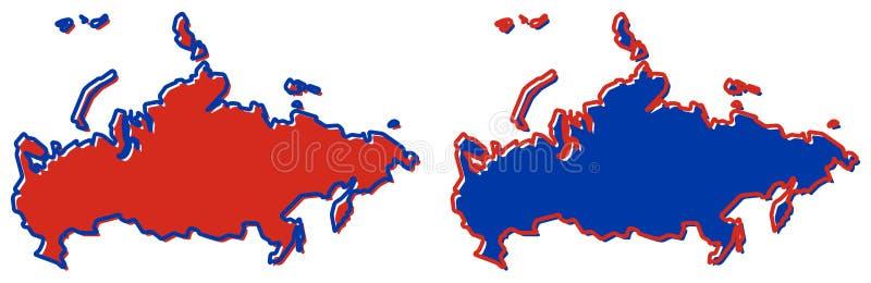 Vereenvoudigde kaart van het overzicht van Rusland Vul en strijk zijn nationaal c stock illustratie
