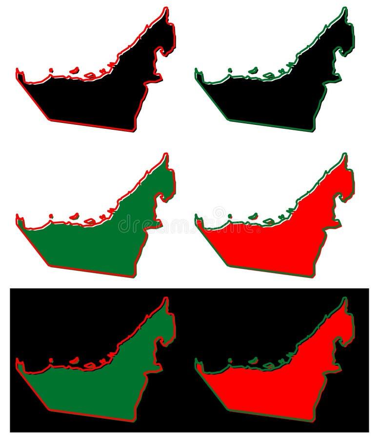 Vereenvoudigde kaart van het Verenigde Arabische overzicht van de V.A.E van Emiraten Vul en s stock illustratie