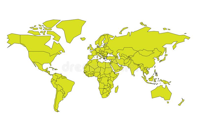 Vereenvoudigde kaart van Wereld in geelgroene kleur Schematische vectorillustratie vector illustratie