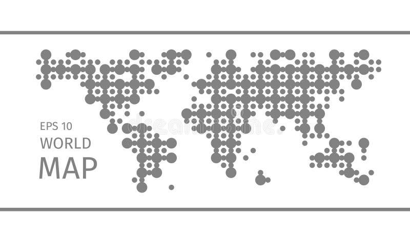 Vereenvoudigde symbolische gestippelde wereldkaart stock illustratie