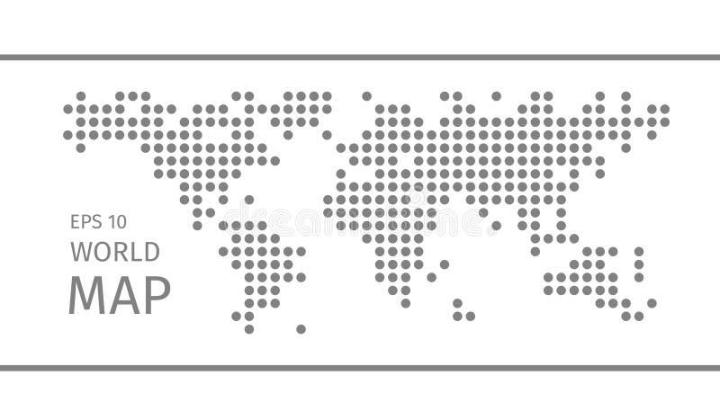 Vereenvoudigde symbolische gestippelde wereldkaart royalty-vrije illustratie