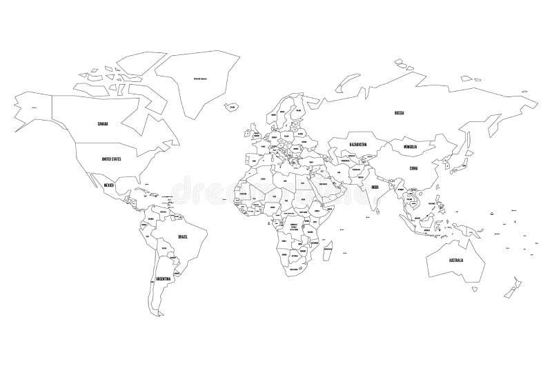 Vereenvoudigde vectorkaart van Wereld Dun zwart overzicht op witte achtergrond vector illustratie