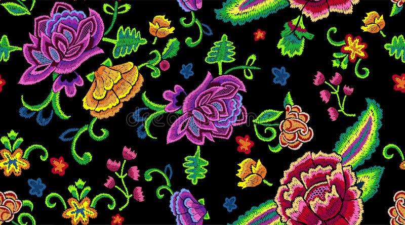 Vereenvoudigt het borduurwerk botanische naadloze patroon met kleurrijk bloemen stock illustratie