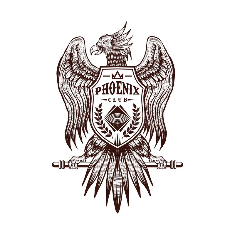 Verein-Vektorillustration des Phoenix-Handabgehobenen betrages stock abbildung
