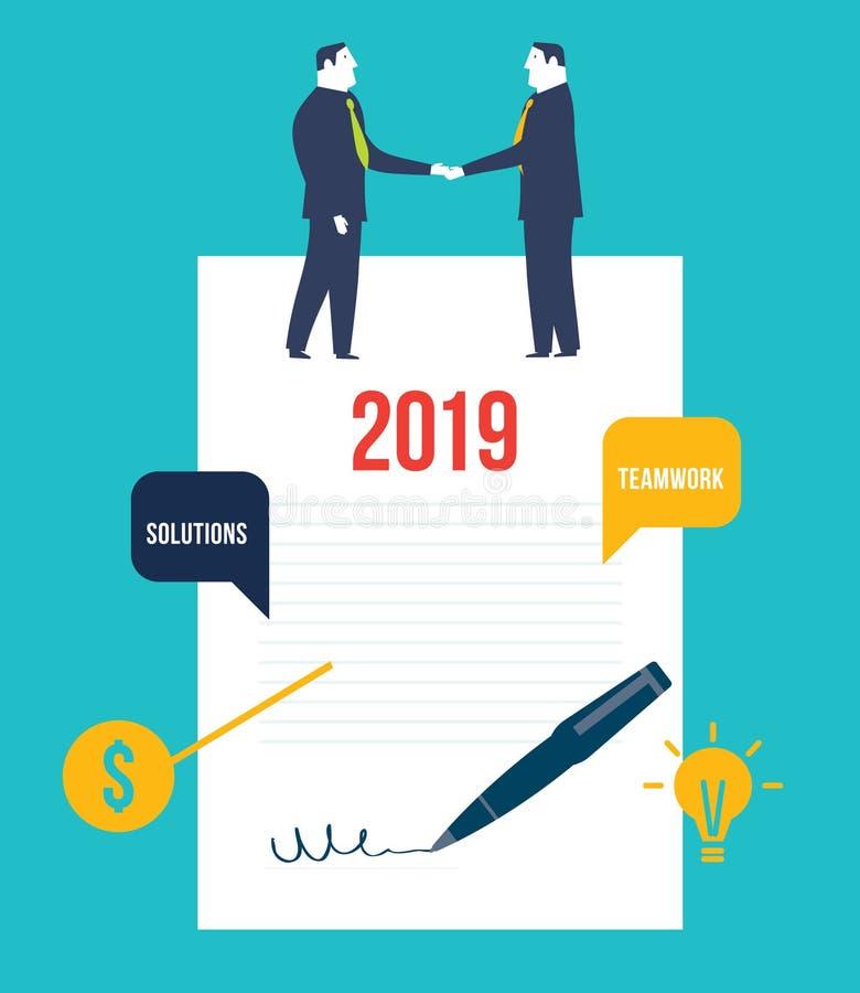 vereinbarung Geschäftsleute, die auf einem unterzeichneten Vertrag stehen lizenzfreie abbildung