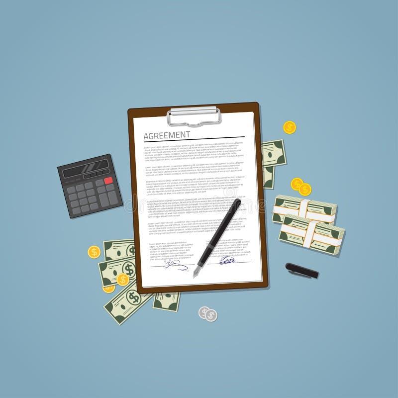 Vereinbarung mit Geld vektor abbildung