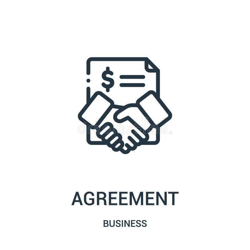 Vereinbarungsikonenvektor von der Geschäftssammlung D?nne Linie Vereinbarungsentwurfsikonen-Vektorillustration Lineares Symbol stock abbildung