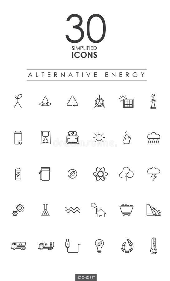 30 VEREINFACHTE ALTERNATIVE ENERGIE-IKONENdesign stock abbildung