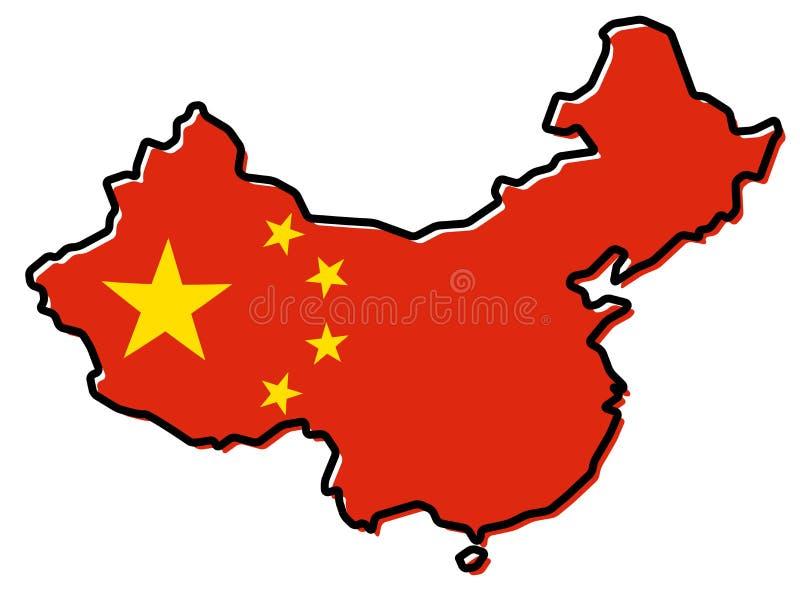 Vereinfachte Karte von China-Entwurf, mit der etwas verbogenen Flagge gelb lizenzfreie abbildung