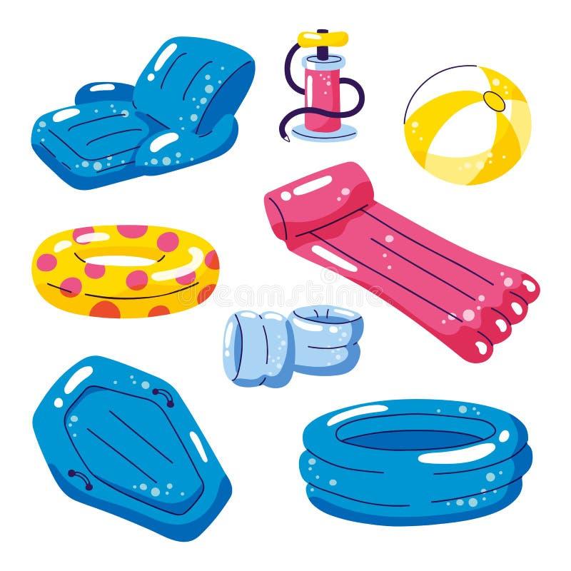 Vereinigen Sie nette Kinderaufblasbare Fl??e, Vektor lokalisierte Gestaltungselemente Stuhl, Ball, Ring, Pool, Flossikonen lokali vektor abbildung