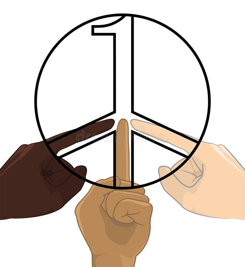 Vereinigt als ein kein Rassismus-Weltfriedenssymbol-Konzept lizenzfreie abbildung