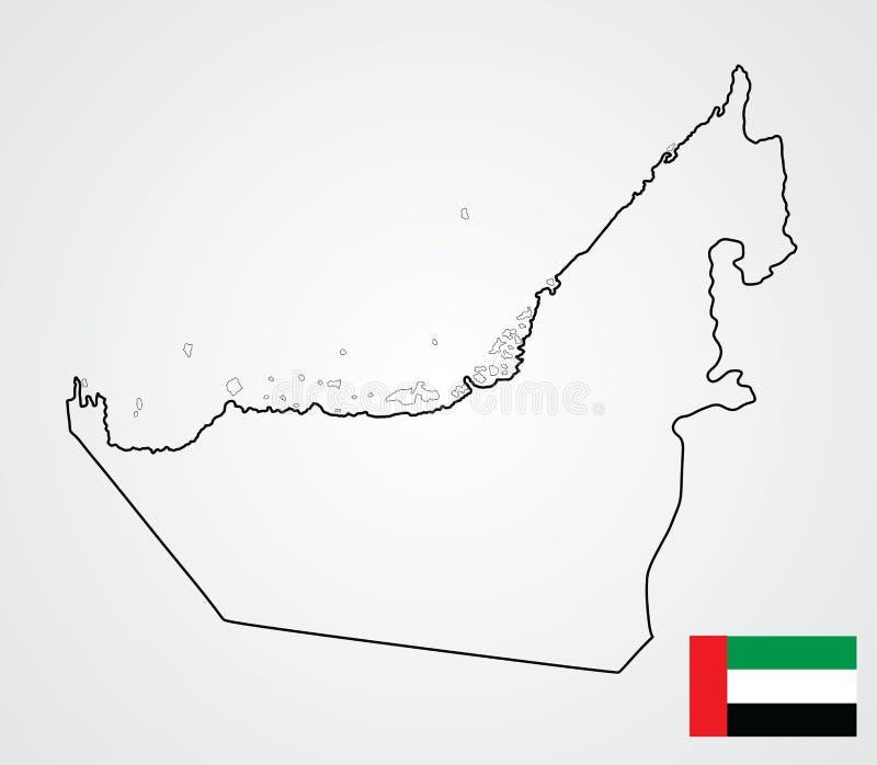 Vereinigte Arabische Emirate-Kartenkontur UAE kennzeichnen und zeichnen auf Staat Mittleren Ostens stock abbildung