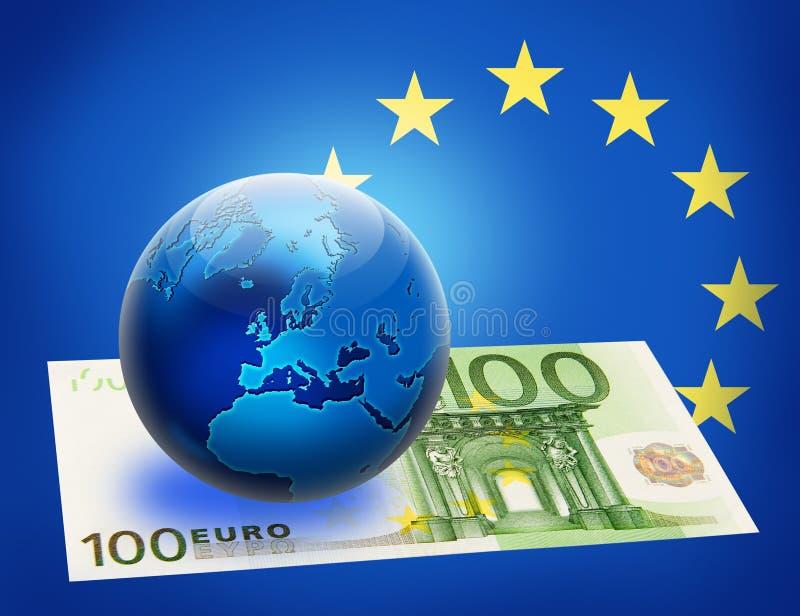 Vereinigte Europa-Markierungsfahne und Kugel über Euro 100 lizenzfreie abbildung