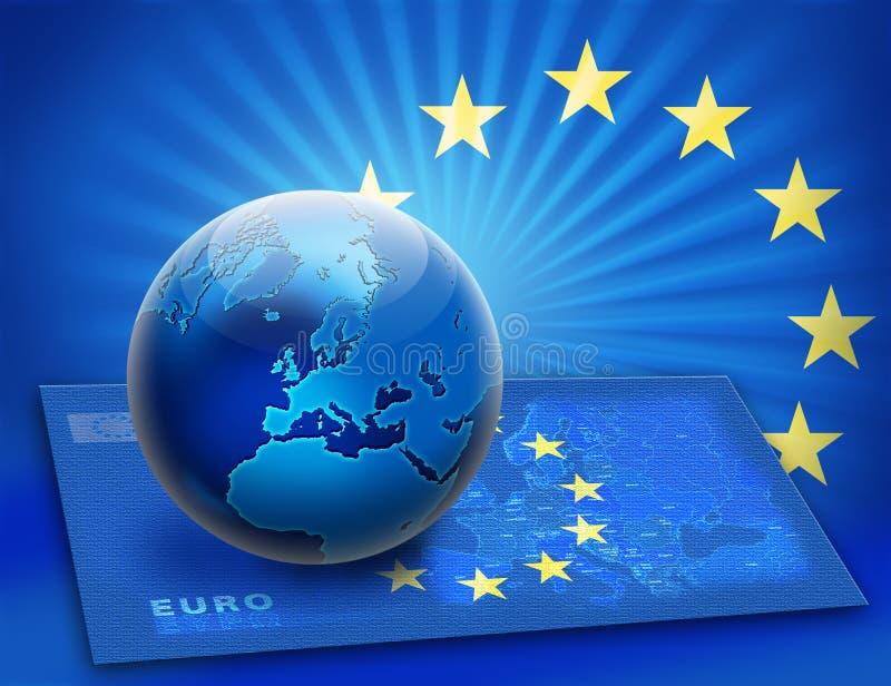 Vereinigte Europa-Markierungsfahne und Kugel über Karte lizenzfreie abbildung