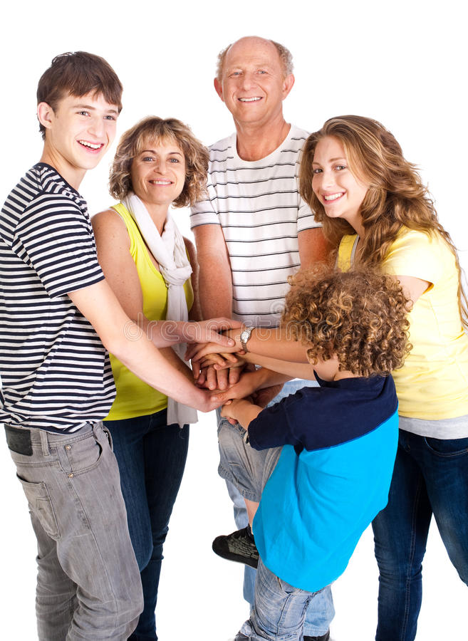 Vereinigte Familie von fünf, großer Masseverbinder stockbilder