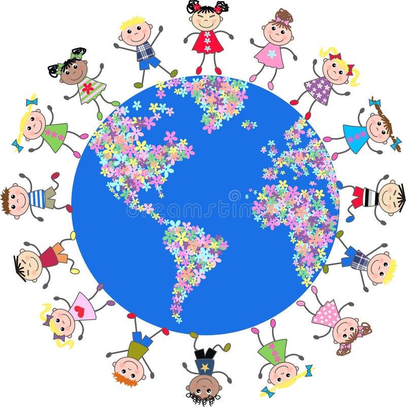 Vereinigte Kinder um die Kugel stock abbildung