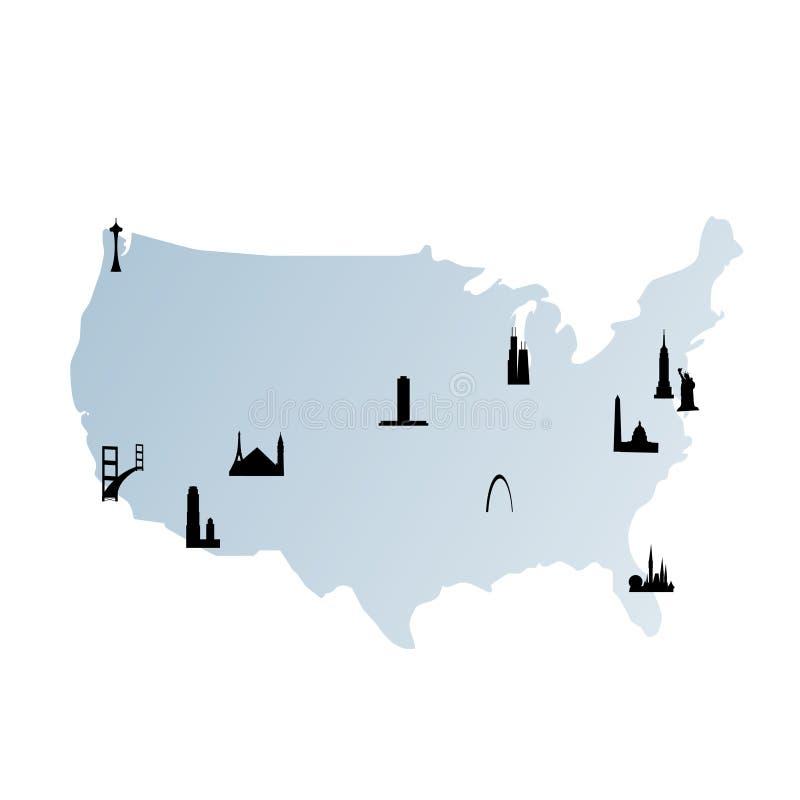 Vereinigte Staaten bilden mit Grenzsteinen ab stock abbildung