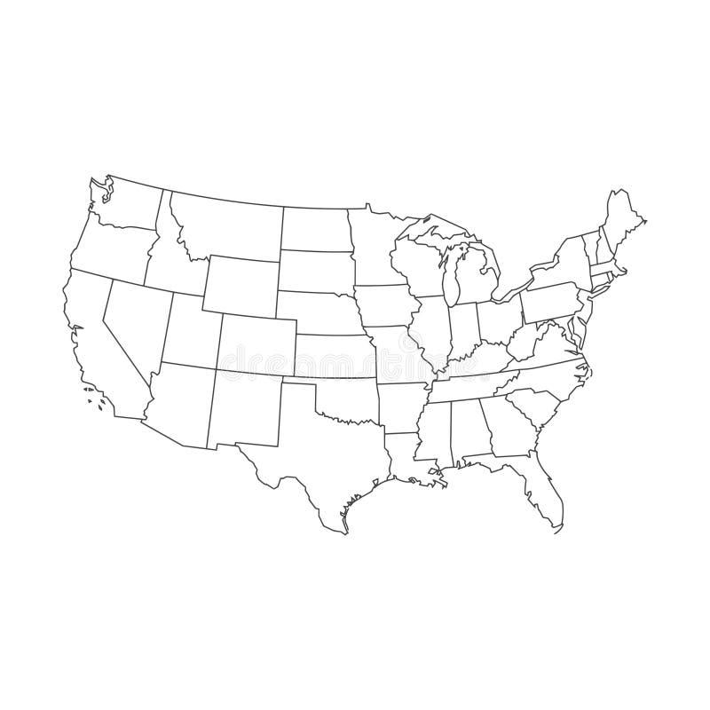 Vereinigte Staaten der amerikanischen Karte, Linie Ikone lizenzfreie abbildung