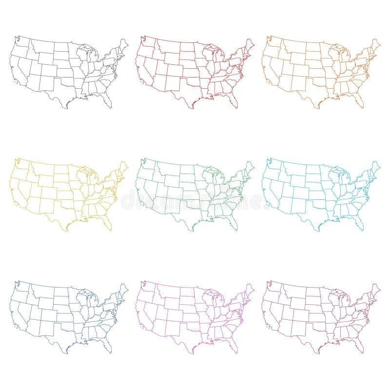Vereinigte Staaten der amerikanischen Kartenikone oder des Logos, Farbsatz stock abbildung