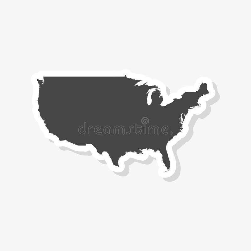 Vereinigte Staaten des amerikanischen Kartenaufklebers vektor abbildung