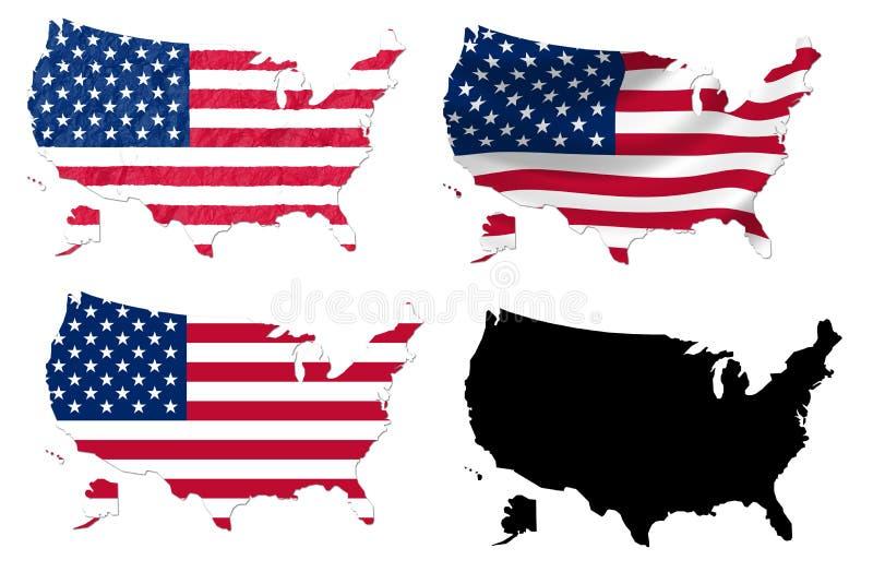 Vereinigte Staaten kennzeichnen über Karte stock abbildung