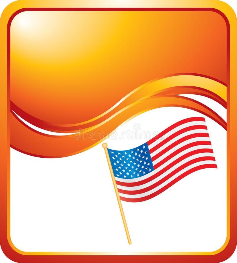 Vereinigte Staaten kennzeichnen auf orange Wellenhintergrund stock abbildung