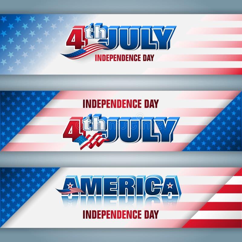 Vereinigte Staaten, Unabhängigkeitstagfeier, Netzfahnen vektor abbildung