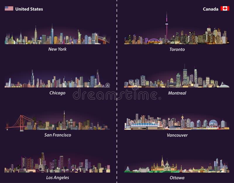 Vereinigte Staaten und kanadische Stadtskyline am Nachtvektorsatz lizenzfreie abbildung