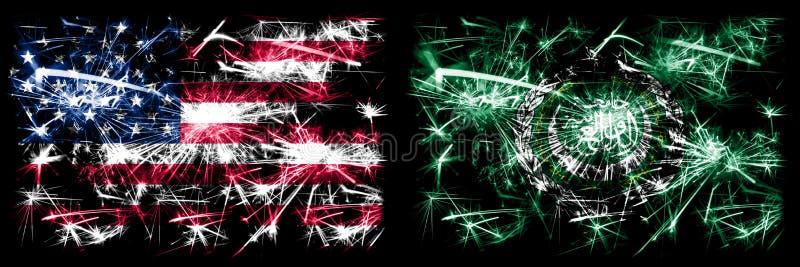 Vereinigte Staaten von Amerika, USA / Arabische Liga Neujahrsfeier mit glänzenden Feuerwerk-Flaggen-Konzept Hintergrund Kombinati stockbild